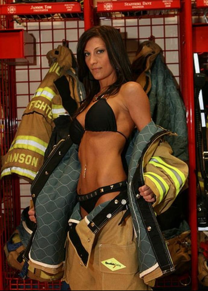 Girl firefighter nude fire truck