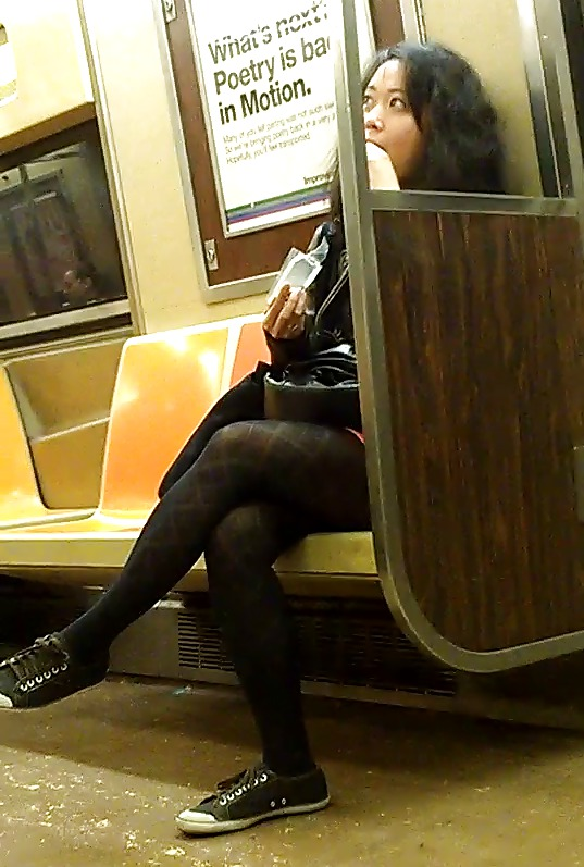 Asian schoolgirl subway