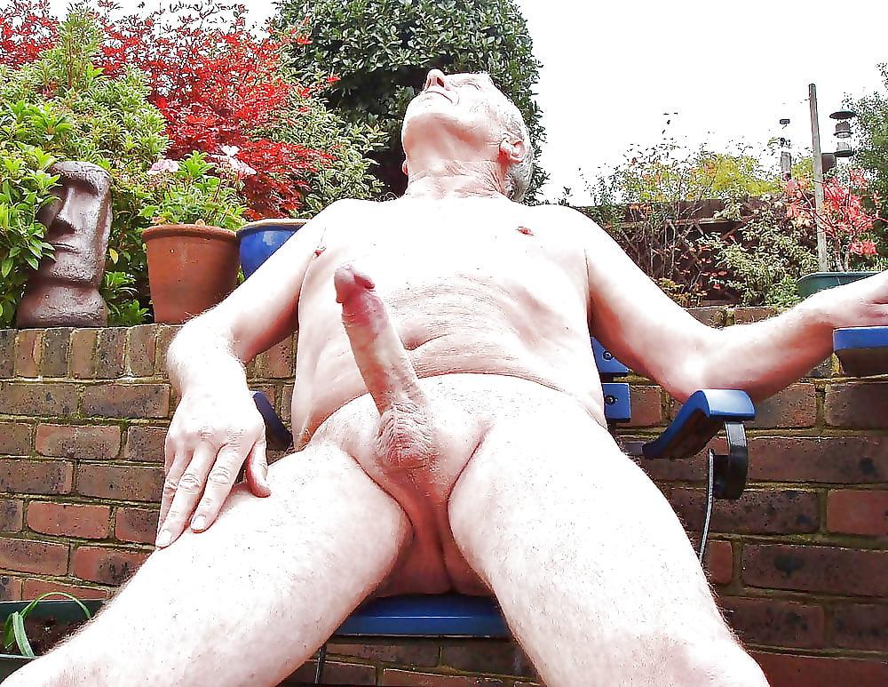 Japanese Old Man Erect Penis Close