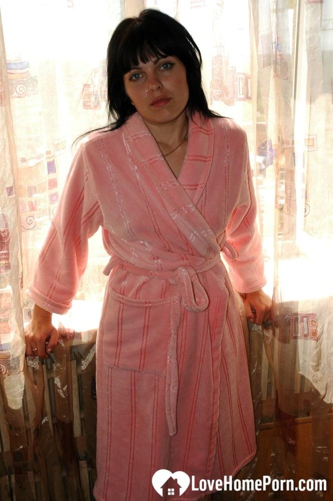 Brunette removes her bathrobe to reveal everything - 102 Pics