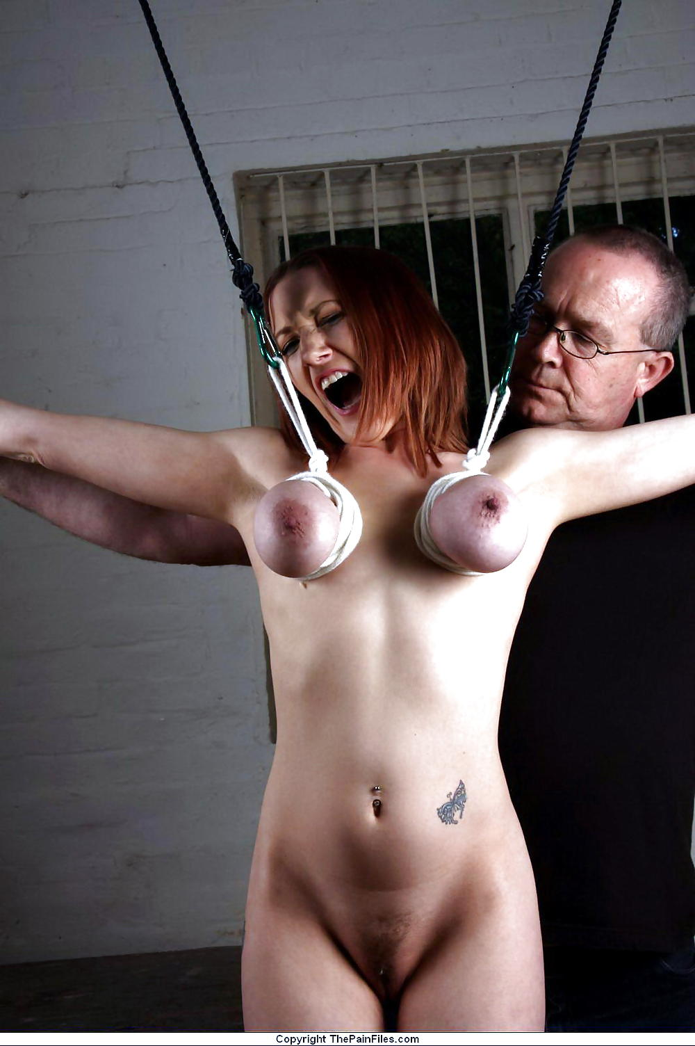Chubby Blonde With Big Boobs Got Tied Up And Forced To Suck Dick While Kneeling