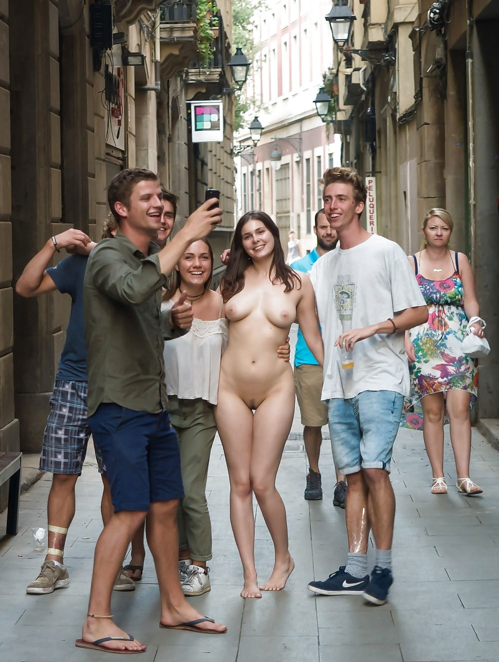 Girls sex in the city naked, nude models ride bike