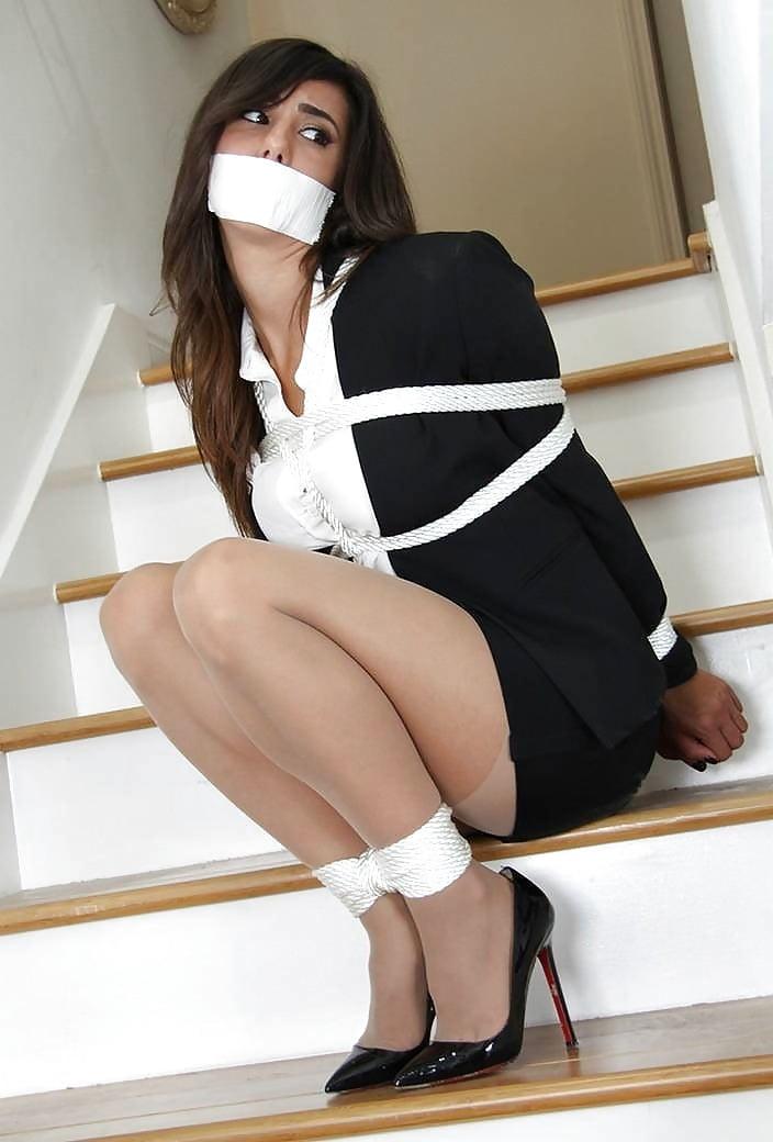 Sharpfffff Ass Bondage Business Suit Heels Pantyhose