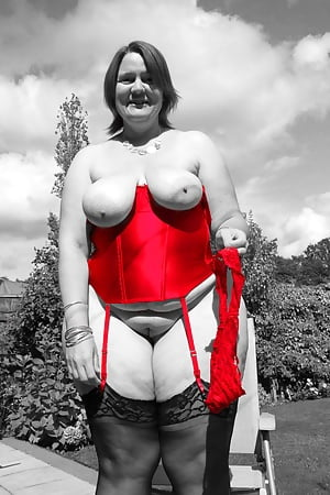 princess outside in red basque and heels