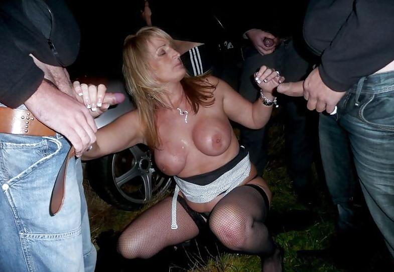 A slut in public porn