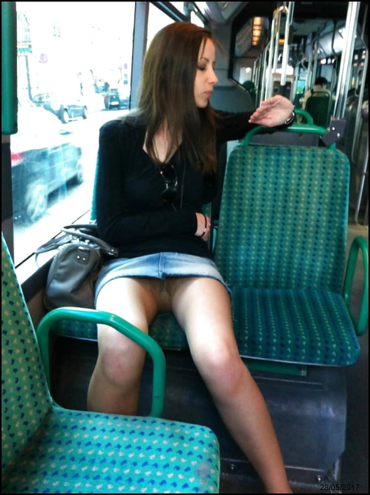 Candid Photo Sexy Girl In Pantyhose In A Public Bus