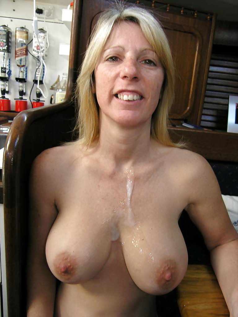 Hot mom with big titties gets covered in cum