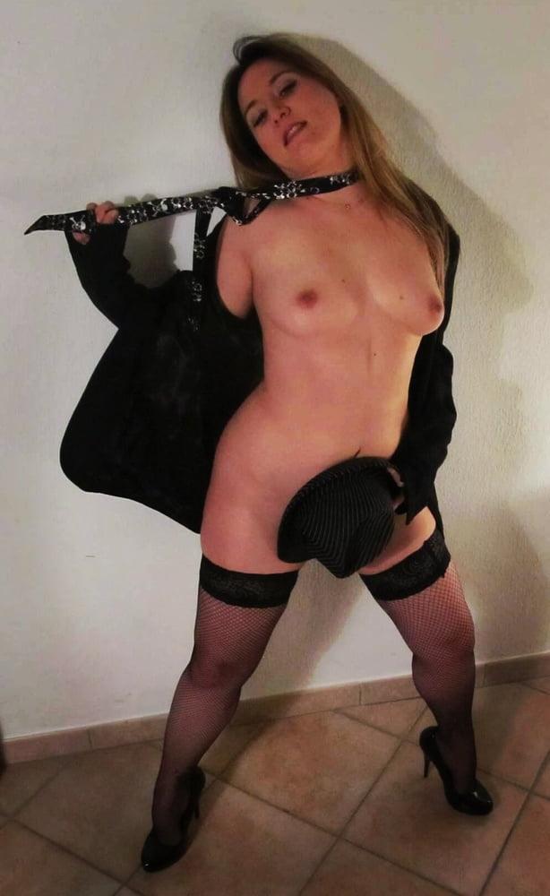 Blonde wife in nylon - 20 Pics