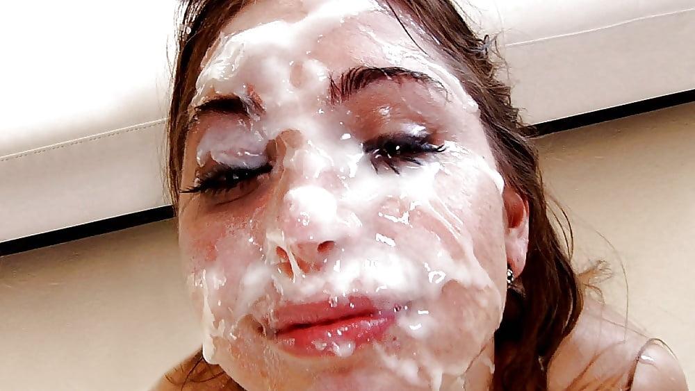 густой спермой на лице