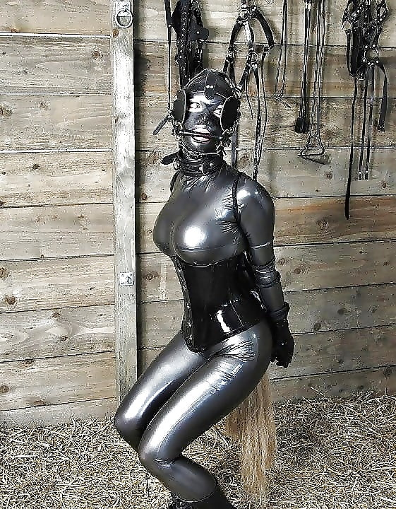 Erotic equine latex ponygirl, softcore pussy fucking