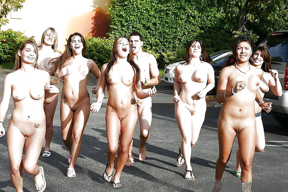 Nude female running