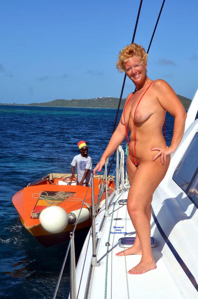 Nude mature couple boat