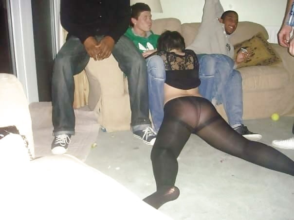 Drinking in pantyhose sexy, trucker gang bang