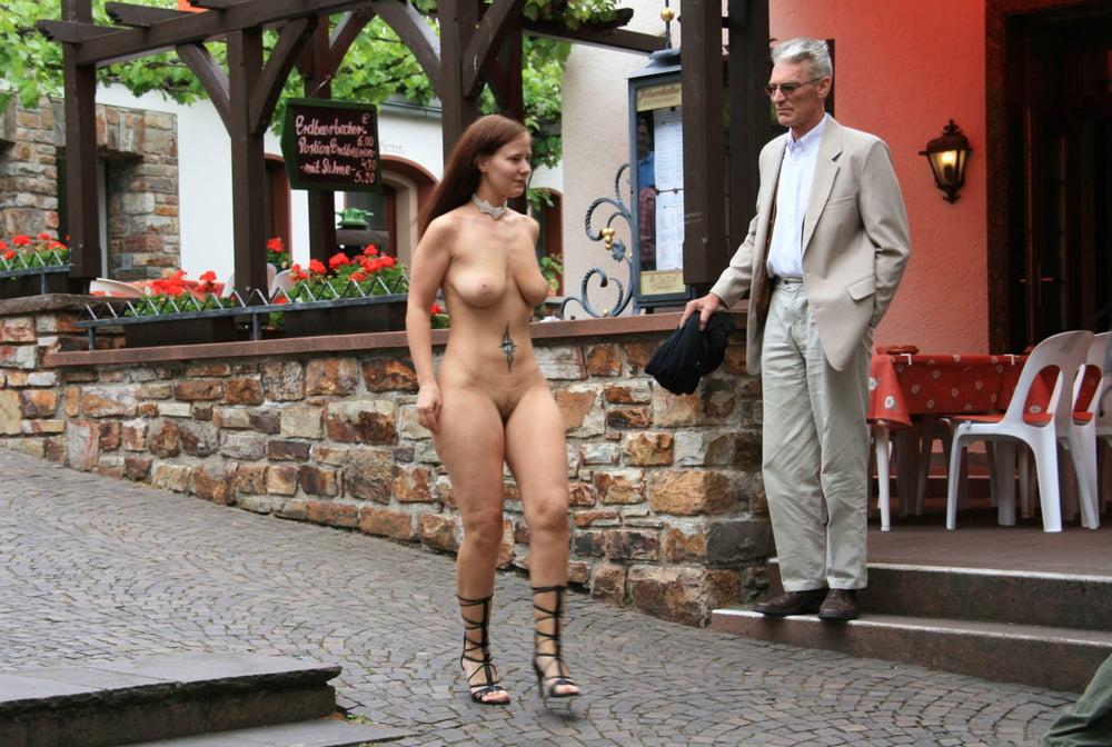 Japanese girl walking street naked in public