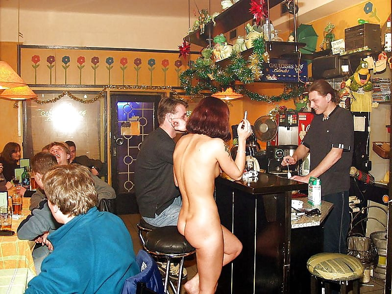 Naked girl in a bar