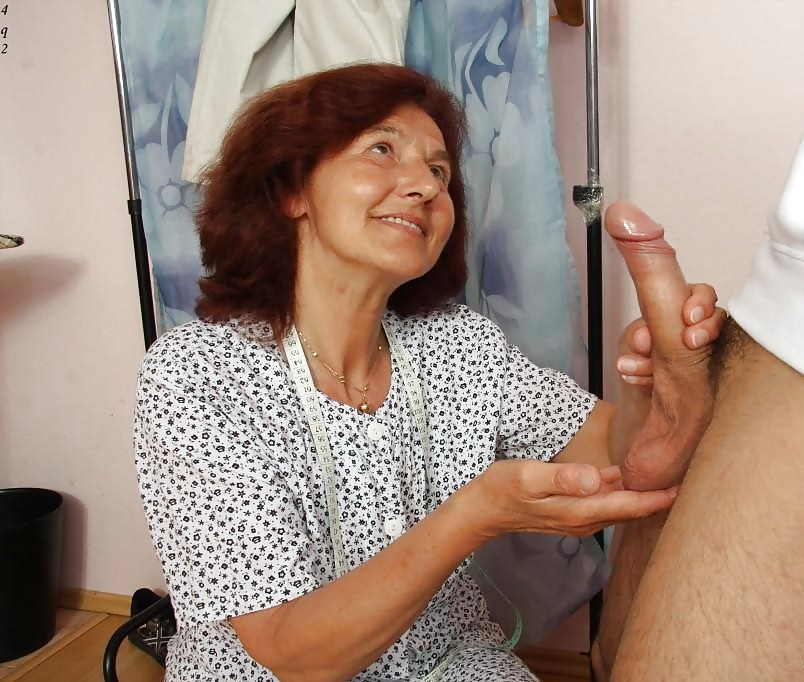 Grandma giving good handjob 6