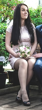 russian bride in sheer grey pantyhose and peep toe heels