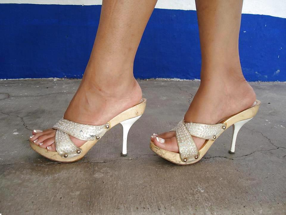 Teen girl fetish heels mules in the street barely
