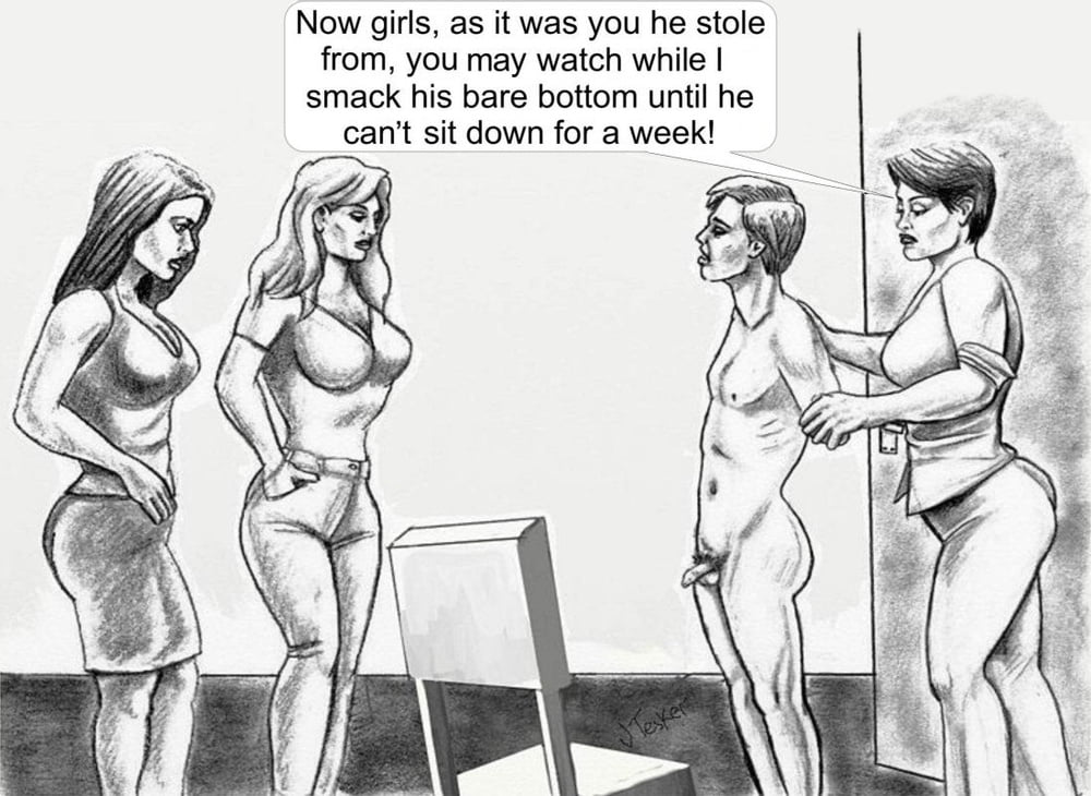 Femdom spanking cartoons captions