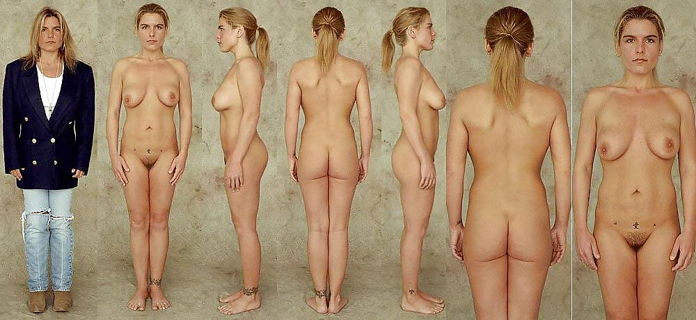 Naked girl with short blond hair stock image
