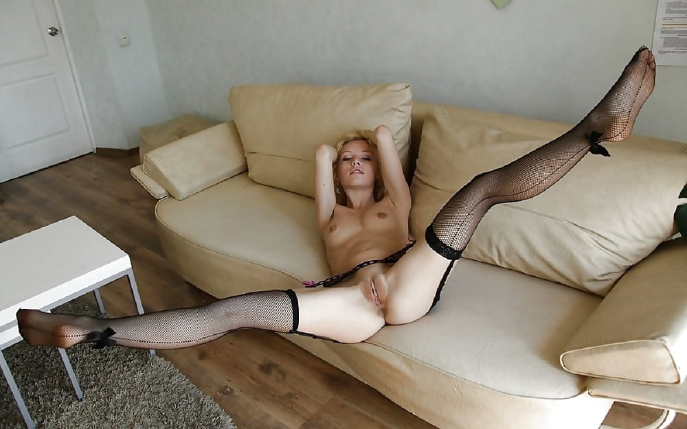 Horny Amateur Ira Spreading Long Legs In Black Stockings To Reveal Hairy 21sextury 1
