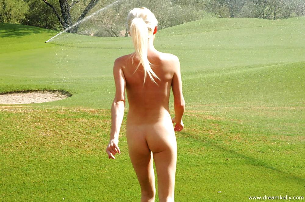 Naked women golfing