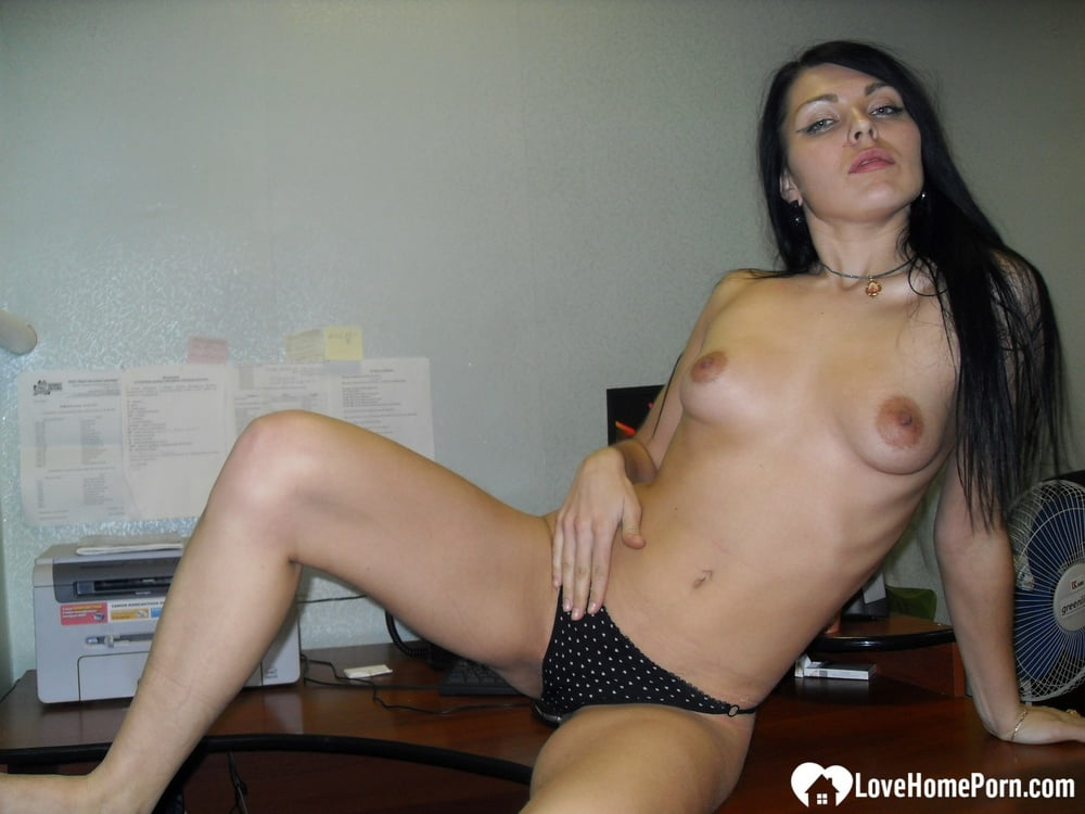 Office cutie shows off her shaved pussy - 35 Pics