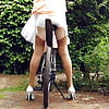 Upskirt Fahrrad Bicycle wife stocking