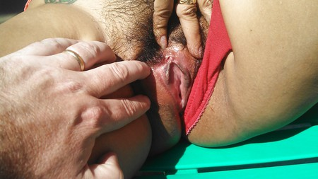 hairy latina milf shows nice pink pussy comment if u like