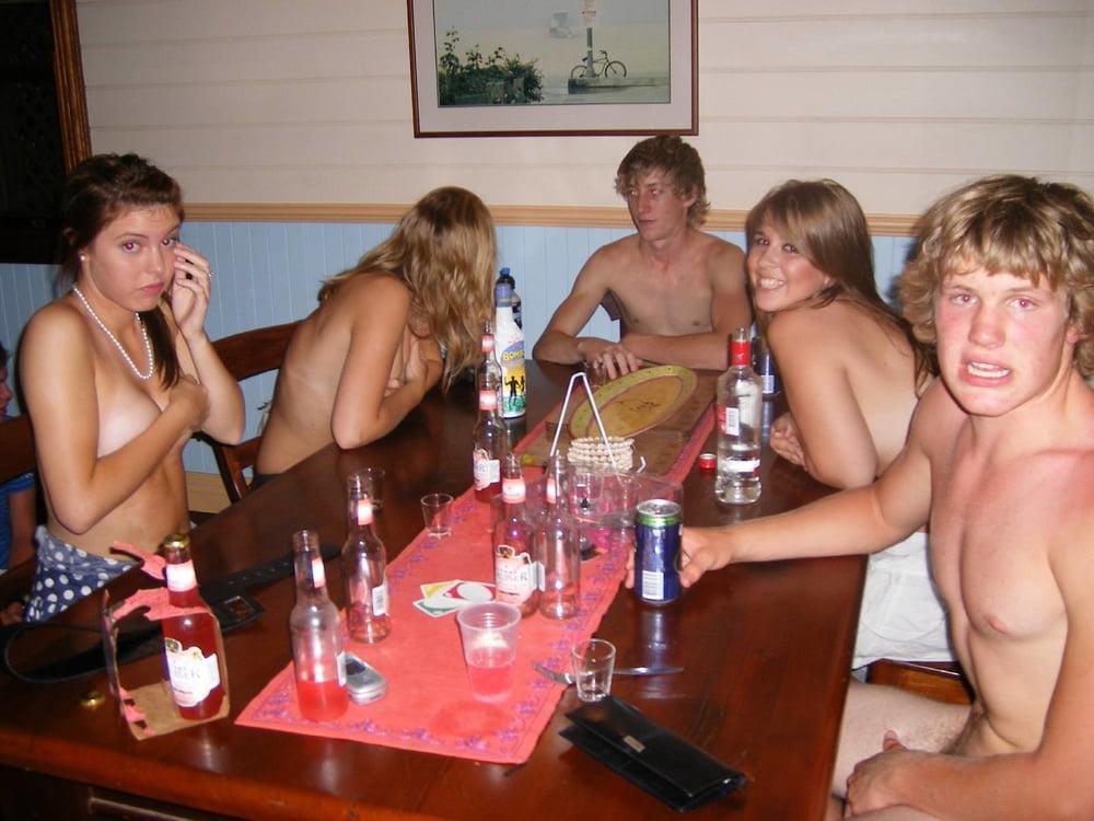 Girls playing strip poker