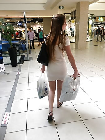 Wife in see through dress at mall think, that