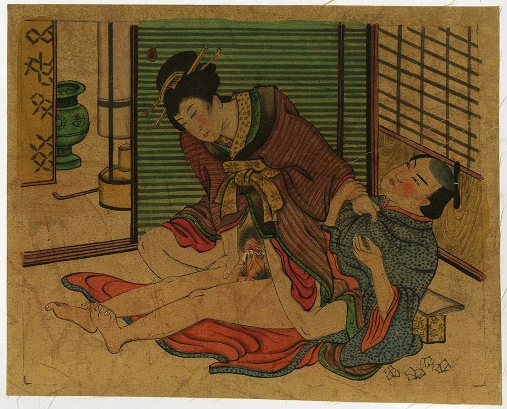 Antique japanese shunga erotic art painting on silk