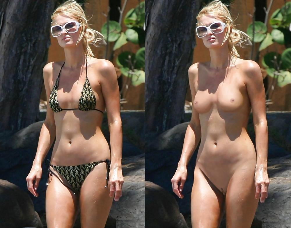 Sexual blonde paris hilton in bikini on the beach