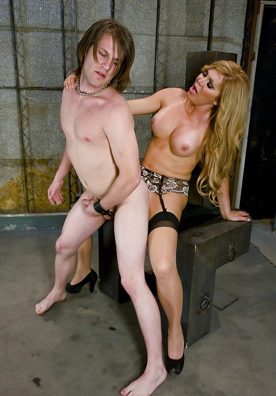 Charming Blonde Tranny Carmen Cruz Putting Her Big Tits To Use