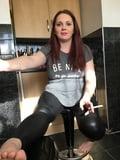 Smoking in wetlook leggings