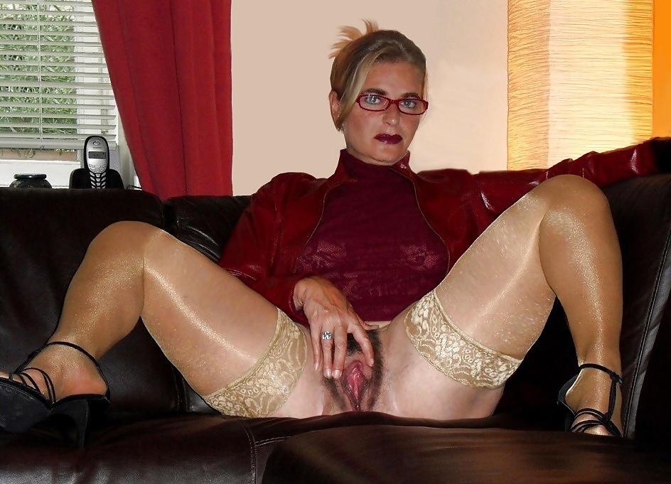 Mature Brunette Milf Wearing Layered Nylons