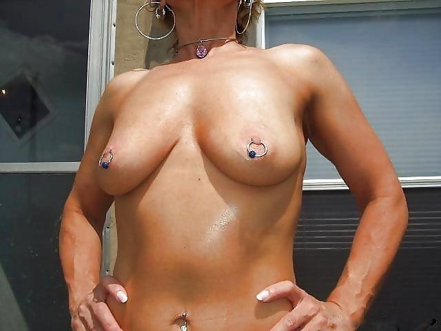 Pierced Nipples Natural Tits