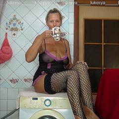 Lukerya In Black Fishnet Stockings