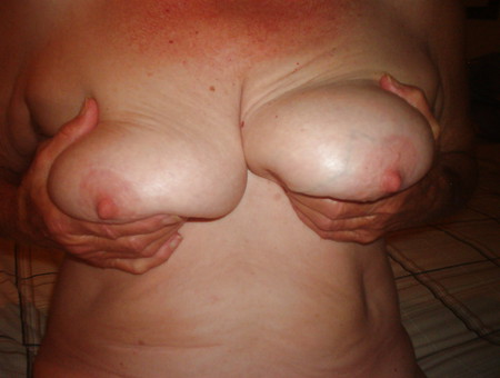 64 y.o. wife showing pussy and tits