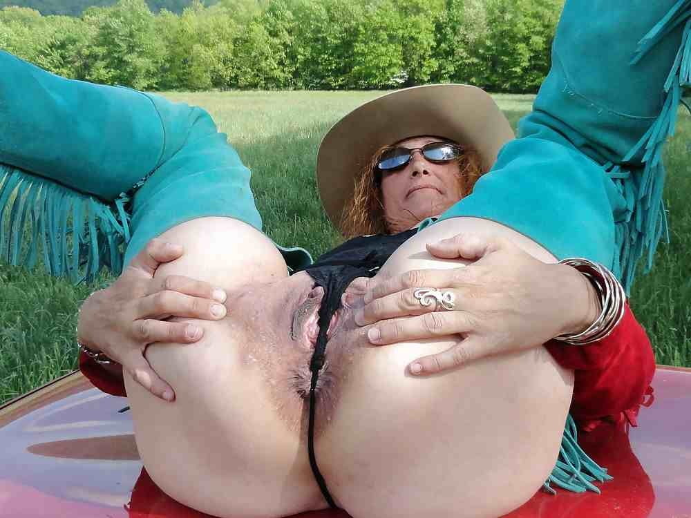 Aunt judys granny in white stockings getting wild and spreads her asshole