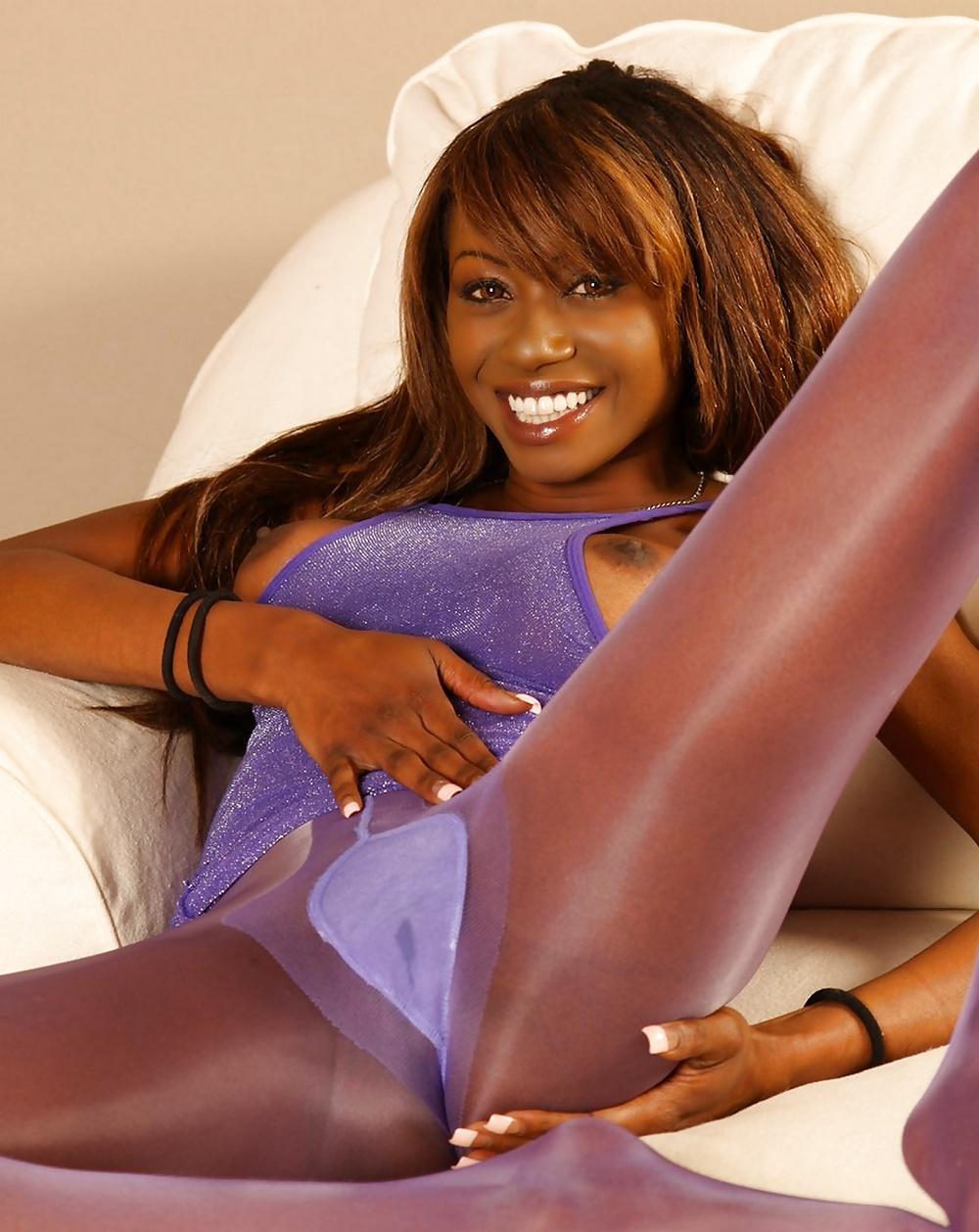Ebony models in pantyhose