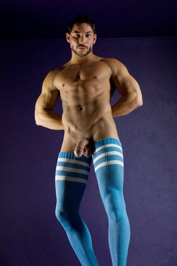 Himealavo Men's Gay Opaque Cotton Thigh High Stockings Men's Sexy Stockings