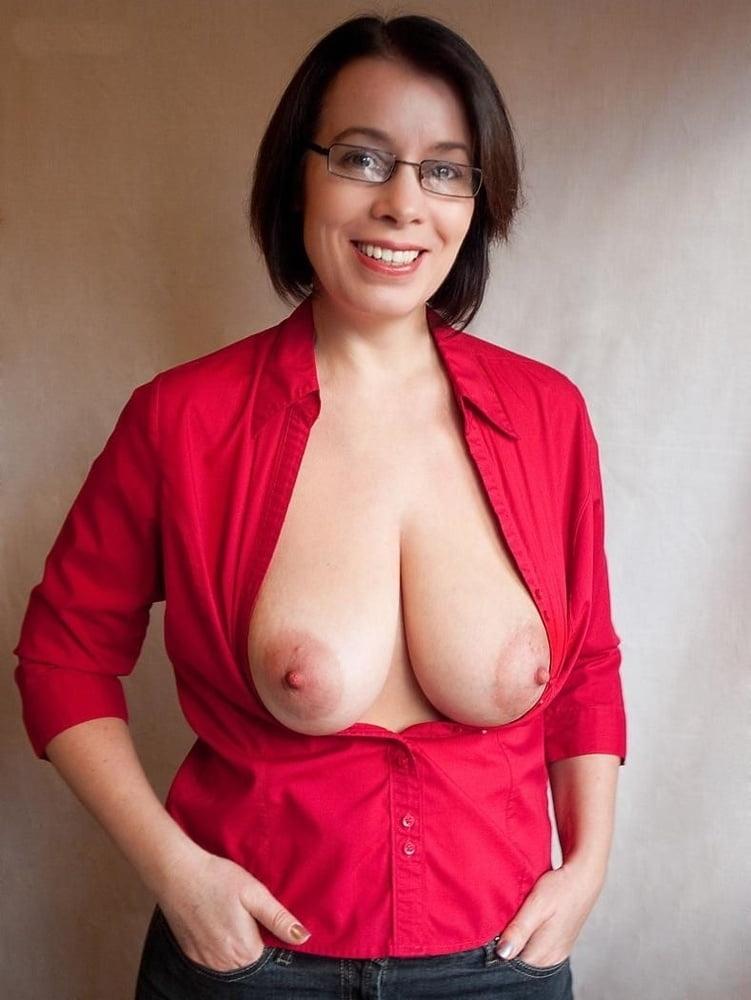Mature Big Tits White Blouse