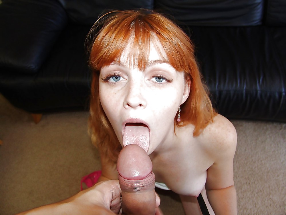 Redhead sucking a cock and swallowing everything