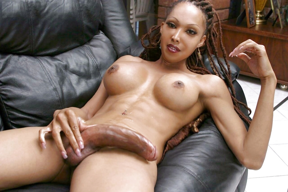 Long dick ebony shemale