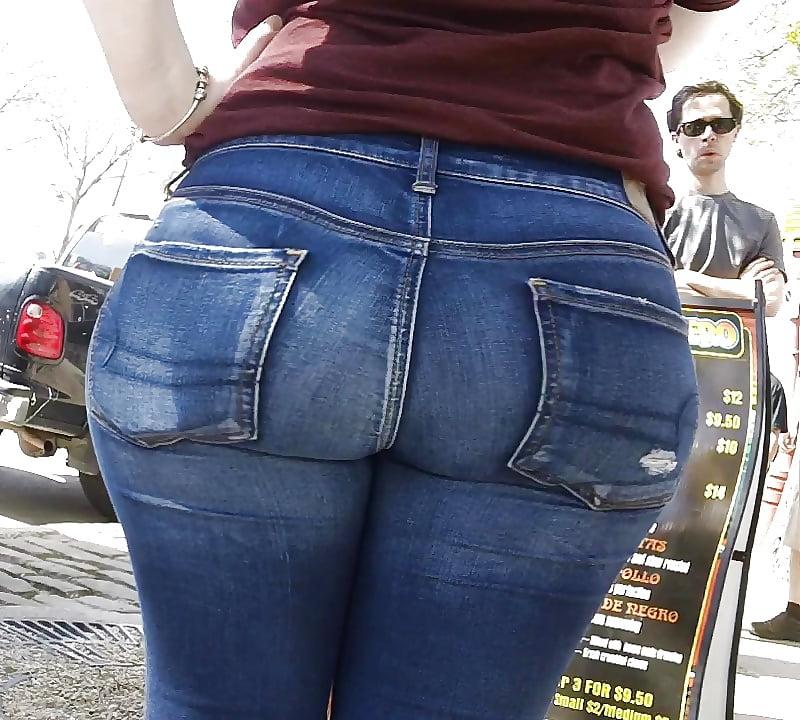 Tight ass blue jeans
