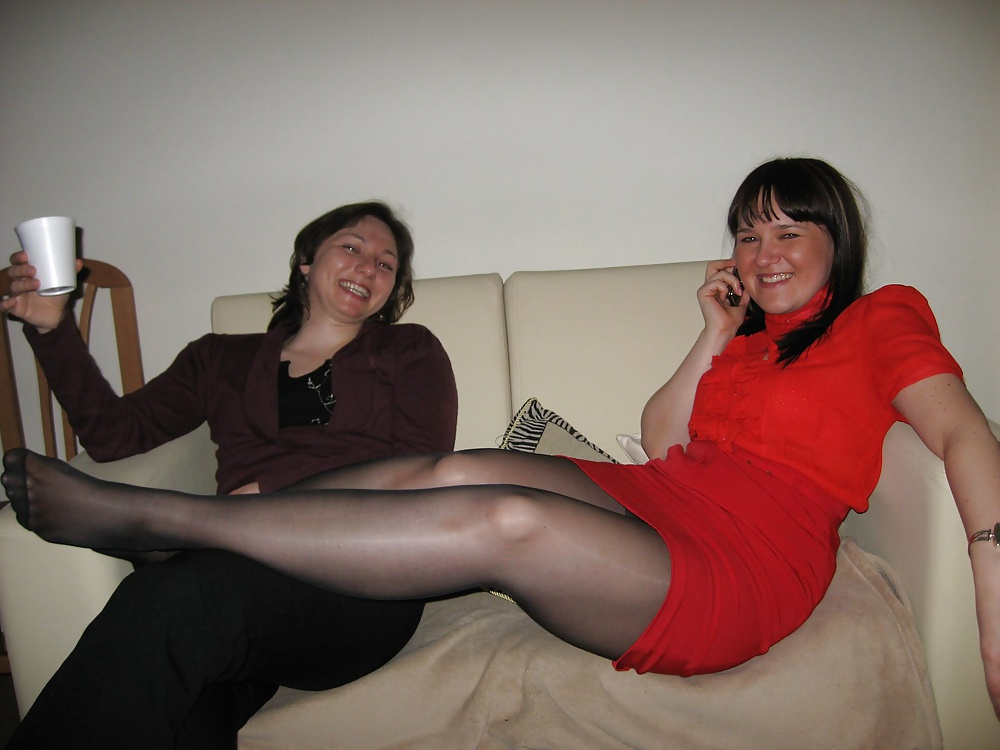 Friends wife pantyhose, tongue in her pussy