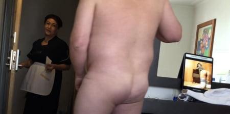 Caught stroking cock