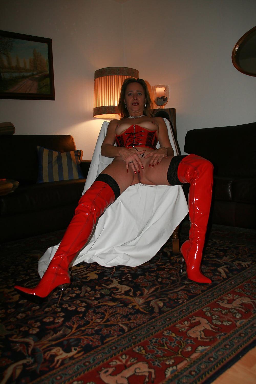 Red latex fetish heels