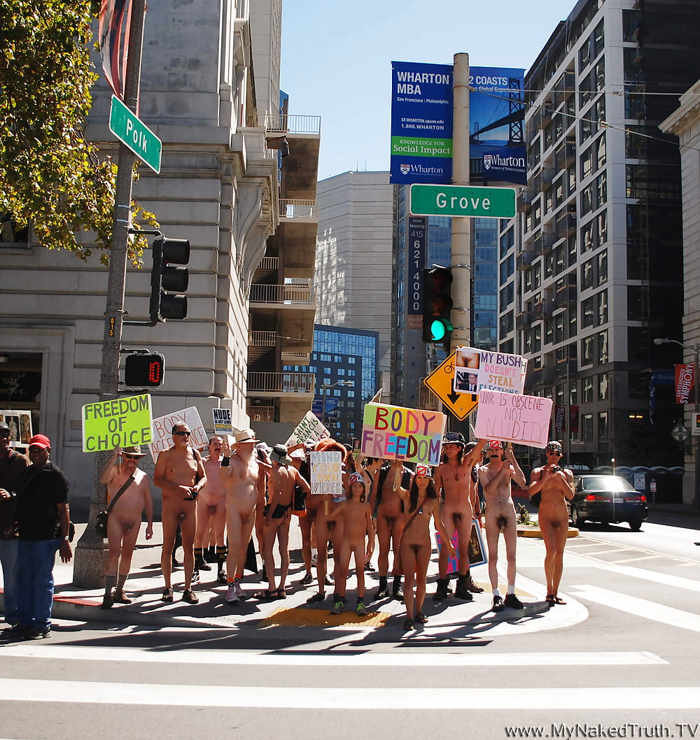 Dozens march in the buff through san francisco advocating for public nudity